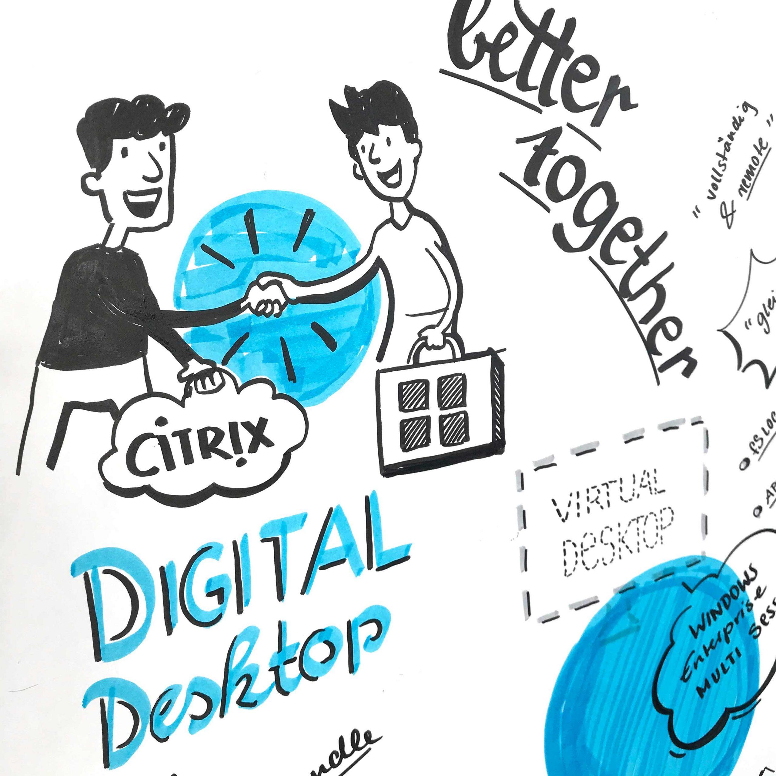 Ausschnitt aus dem Graphic Recording Ein Citrix Mitarbeiter und ein Microsoft Angestellter geben sich die Hand
