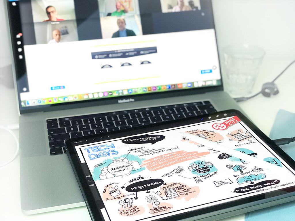 Foto Laptop und Tablet mit Videokonferenz und Graphic Recording